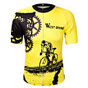cheap Earrings-WEST BIKING® Short Sleeve Cycling Jersey - Yellow Bike Jersey, Quick Dry, Reflective Strips Polyester / High Elasticity