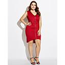 povoljno Ženske čizme-Žene Veći konfekcijski brojevi Korice Haljina - S izrezom, Jednobojni V izrez Asimetričan / Slim