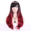 halpa Synteettiset peruukit ilmanmyssyä-Synteettiset peruukit Laineita Otsatukalla Synteettiset hiukset Liukuvärjätyt hiukset / Tummat juuret / Bangsin kanssa Punainen Peruukki Naisten Pitkä Suojuksettomat