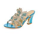 baratos Sandálias Femininas-Mulheres Sapatos Couro Ecológico Primavera / Outono Conforto / Inovador Sandálias Salto Robusto Dedo Aberto Cristais / Gliter com Brilho
