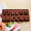 hesapli Tatil Fırsatlar-Bakeware araçları Silikon 3D / Yaratıcı Mutfak Gadget / Noel Ekmek / Kurabiye / Tart Pasta Kalıpları 1pc