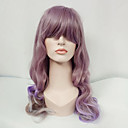 cheap Synthetic Capless Wigs-Synthetic Wig Wavy With Bangs Synthetic Hair Purple Wig Women's Long Capless