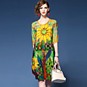 cheap Shoes Accessories-YHSP Women's Sophisticated Street chic Slim A Line Loose Swing Dress - Painting Print V Neck