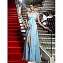 preiswerte Moderinge-Eng anliegend Tiefer Ausschnitt Boden-Länge Chiffon Formeller Abend Kleid mit Vorne geschlitzt / Gerafft durch TS Couture®
