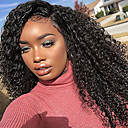 cheap Human Hair Wigs-Human Hair Glueless Lace Front / Lace Front Wig Brazilian Hair Curly / Kinky Curly Wig Bob Haircut 130% African American Wig / 100% Hand Tied Women's Medium Length Human Hair Lace Wig