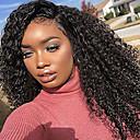 olcso Emberi hajból készült parókák-Emberi haj Tüll homlokrész / Csipke eleje Paróka Brazil haj Göndör / Kinky Curly Paróka Bob frizura 130% Afro-amerikai paróka / 100% kézi csomózású Női Közepes Emberi hajból készült parókák