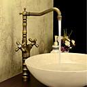 hesapli Mutfak Muslukları-Antik Klasik Stil Tek Gövdeli Yüksek kalite Pirinç Vana İki Kolları Tek Delik Antik Pirinç, Banyo Lavabo Bataryası