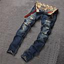baratos Botas Masculinas-Homens Algodão Chinos Jeans Calças - Sólido rasgado