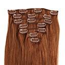 tanie Dopinki clip in-Febay Clip In Ludzkich włosów rozszerzeniach Klasyczny Doczepy z naturalnych włosów Włosy naturalne Damskie - Średni brąz Truskawkowy blond / Jasny blond Średni brąz / Tleniony blond