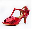 baratos Sapatos de Dança Latina-Mulheres Sapatos de Dança Latina Micofibra Sintética PU Salto Presilha Salto Alto Personalizável Sapatos de Dança Vermelho / Interior