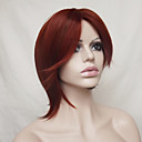 cheap Synthetic Capless Wigs-Synthetic Wig Straight Burgundy Bob Haircut / Asymmetrical Haircut / With Bangs Synthetic Hair Natural Hairline Burgundy Wig Women's Short Capless