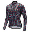 tanie Stroje rowerowe-FUALRNY® Męskie Długi rękaw Koszulka rowerowa - Czerwony + niebieski Mermaid Scales Rower Dżersej Zima / Wysoka elastyczność