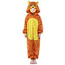 preiswerte Temporäre Farben-Kinder Kigurumi-Pyjamas Tiger Pyjamas-Einteiler Flanell Vlies Orange Cosplay Für Jungen und Mädchen Tiernachtwäsche Karikatur Halloween Fest / Feiertage