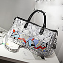 cheap Totes-Women's Bags Patent Leather Tote Pattern / Print / Zipper Gray