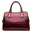 お買い得  トートバッグ-女性用 バッグ レザー トート ジッパー ピンク / ベージュ / ワイン
