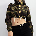 cheap Blackout Curtains-Women's Vintage Jacket - Camouflage Shirt Collar