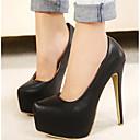 رخيصةأون أحزية بوت نسائية-للمرأة أحذية PU ربيع / خريف مريح كعوب أسود