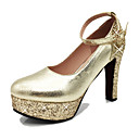 cheap Women's Heels-Women's Shoes PU(Polyurethane) Spring / Summer Heels Chunky Heel Round Toe Crystal / Sequin / Buckle Gold / Silver / Wedding