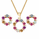 cheap Jewelry Sets-Women's Crystal Jewelry Set - Crystal Flower Sweet, Elegant Include Stud Earrings Pendant Necklace Rainbow For Wedding Party Birthday