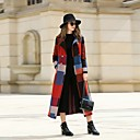 cheap Women's Sneakers-Women's Work Vintage Wool Coat - Color Block Shirt Collar