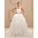 olcso Köszönetajándék tartók-Báli ruha Szív-alakú Udvari uszály Csipke / Organza Made-to-measure esküvői ruhák val vel Kristály díszítés / Fodros által LAN TING BRIDE® / Open Back