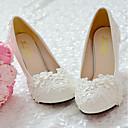 baratos Sapatos de Noiva-Feminino Sapatos Renda Couro Ecológico Primavera Outono Conforto Sapatos De Casamento Ponta Redonda Pedrarias Apliques Miçangas Pérolas