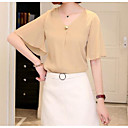 cheap Earrings-Women's Blouse - Solid Colored V Neck