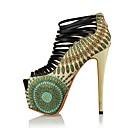 olcso Női magassarkú cipők-Női Cipő Szintetikus Mikrorost PU Nyár / Ősz Újdonság Magassarkúak Tűsarok Köröm Cipzár Piros / Zöld / Esküvő / Party és Estélyi