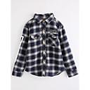 billige Armbåndsur-Barn Gutt Ruter Langermet Bomull Bluse Blå 140