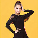 cheap Latin Dance Wear-Latin Dance Women's Performance Ice Silk Lace Long Sleeves Top