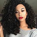olcso Szintetikus parókák-Szintetikus parókák Női Göndör Fekete Bretonnal Szintetikus haj Fekete Paróka Közepes Sapka nélküli Fekete