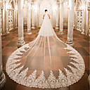 cheap Ceremony Decorations-One-tier Wedding Veil Cathedral Veils 53 Appliques Lace Tulle