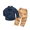 tanie Zestawy ubrań dla chłopców-Komplet odzieży Bawełna Poliester Dla chłopców Pled Jesień Długi rękaw Prosty Navy Blue