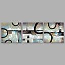 זול ציורי שמן-ציור שמן צבוע-Hang מצויר ביד - מופשט מודרני כלול מסגרת פנימית / שלושה פנלים / בד מתוח