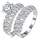 cheap Bracelets-Men's Women's Band Ring Cubic Zirconia , 2pcs Silver Zircon Copper Princess Classic Wedding Party Party / Evening Engagement Gift