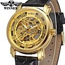 ieftine Proiectoare-WINNER Bărbați Ceas Elegant Ceas de Mână ceas mecanic Mecanism automat Piele Negru 30 m Gravură scobită Analog Lux Vintage - Auriu / Oțel inoxidabil