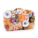 billige Clutch- og aftentasker-Dame Tasker polyester Aftentaske Imitationsperler / Krystal / Rhinsten / Blomst Regnbue