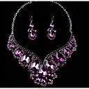 cheap Jewelry Sets-Women's Crystal Jewelry Set - Include Drop Earrings / Necklace Purple / Red / Blue For Wedding / Party