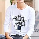 tanie Oświetlenie sceniczne-T-shirt Męskie Moda miejska Bawełna Okrągły dekolt Solidne kolory / Długi rękaw