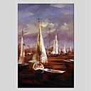 tanie Pejzaże-Hang-Malowane obraz olejny Ręcznie malowane - Krajobraz Nowoczesny Brezentowy / Rozciągnięte płótno