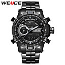 cheap Synthetic Capless Wigs-WEIDE Men's Sport Watch / Wrist Watch / Digital Watch Japanese Calendar / date / day / Water Resistant / Water Proof / Dual Time Zones Stainless Steel Band Luxury / Casual / Fashion Black