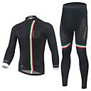 baratos Camisas & Shorts/Calças de Ciclismo-Homens Manga Longa Calça com Camisa para Ciclismo - Preto Moto Conjuntos de Roupas, Secagem Rápida