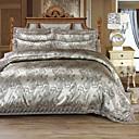 preiswerte Luxus Duvet Covers-Bettbezug-Sets Luxus 4 Stück Seidenimitat Jacquard Seidenimitat 4-teilig (1 Bettbezug, 1 Bettlaken, 2 Kissenbezüge)