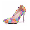 ieftine Sandale de Damă-Pentru femei Pantofi Piele Primăvară Confortabili / Noutăți pantofi de nunta Vârf ascuțit Curcubeu / Nuntă / Party & Seară