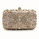 cheap Clutches & Evening Bags-Women's Bags Polyester Evening Bag Buttons Silver / Blushing Pink / Beige