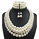 cheap Necklaces-Women's Pearl Jewelry Set - Imitation Pearl Statement, Ladies Include Beige For Casual Evening Party / Earrings / Necklace