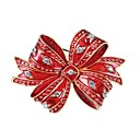 cheap Men's Necklaces-Brooches - Zircon, Gold Plated Bowknot Brooch Red For Christmas / New Year