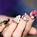 abordables Muñecas-Mujer Anillo de dedo de uñas Anillo Cuff Perla Artificial Legierung Delicado Importante damas Inusual Diseño Único Clásico Anillos de Moda Joyas Dorado Para Fiesta de Noche Bar Tamaño Único 4pcs