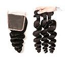 billige Hovedtelefoner-4 pakker Indisk hår Løst, bølget hår Remy hår Menneskehår, Bølget Menneskehår Vævninger Menneskehår Extensions