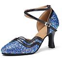 זול נעליים מודרניות-נעליים מודרניות Paillette / דמוי עור סנדלים / עקבים קשתות עקב מותאם מותאם אישית נעלי ריקוד שחור / כחול